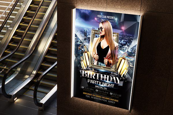 Birthday Flyer Template By Basez Flyers On Creativemarket