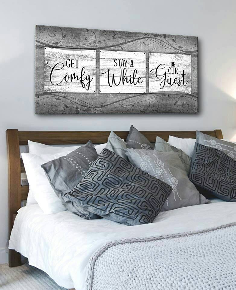 Bedroom Wall Art Get Comfy Stay A While Wood Frame Ready To Hang Bedroom Decor For Couples Home Decor Bedroom Decor