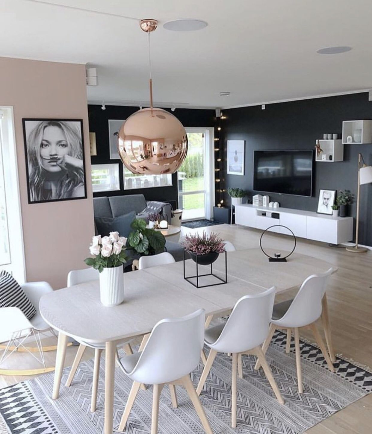 grey  pink and white living room  dining table