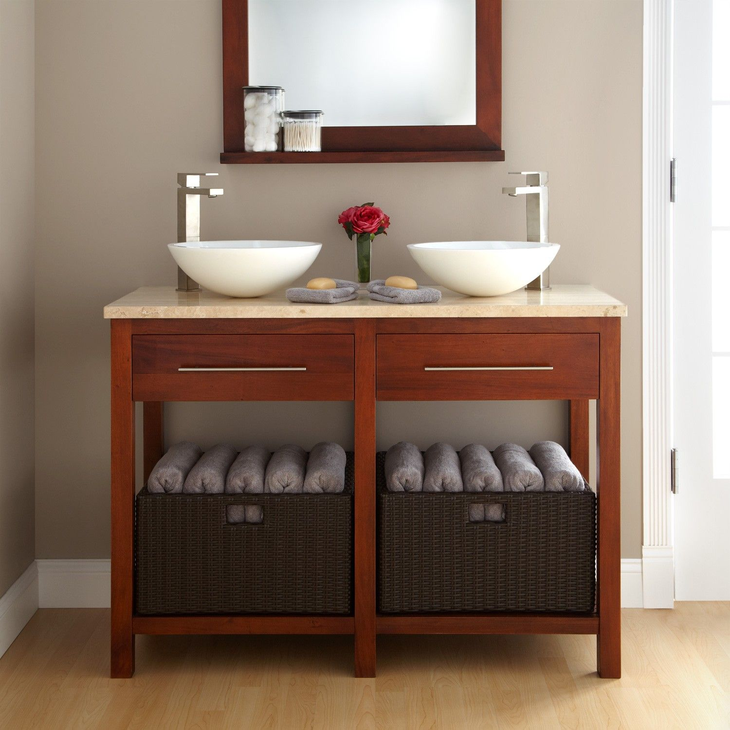 48 Sylmar Mahogany Double Vessel Sink Console Vanity With