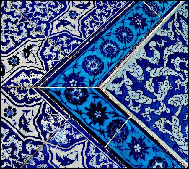Topkapi Tiles Peindre Objet Carreau Nuances De Bleu