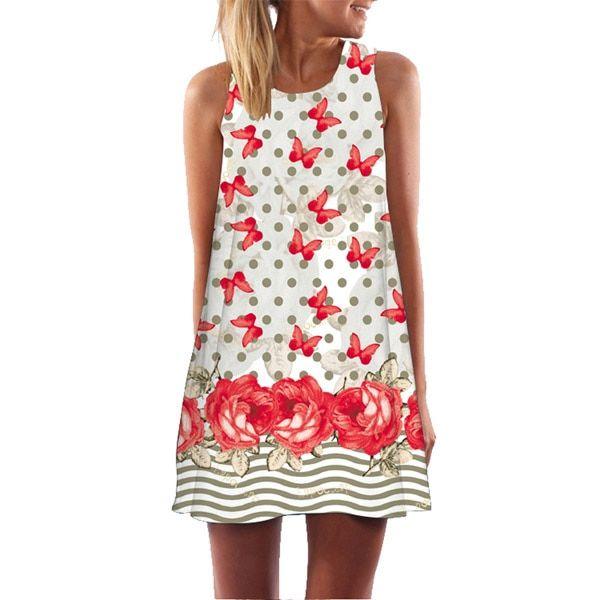 Summer dress women 3d floral print short dress sleeveless boho short beach dress sundress casual dresses vestido