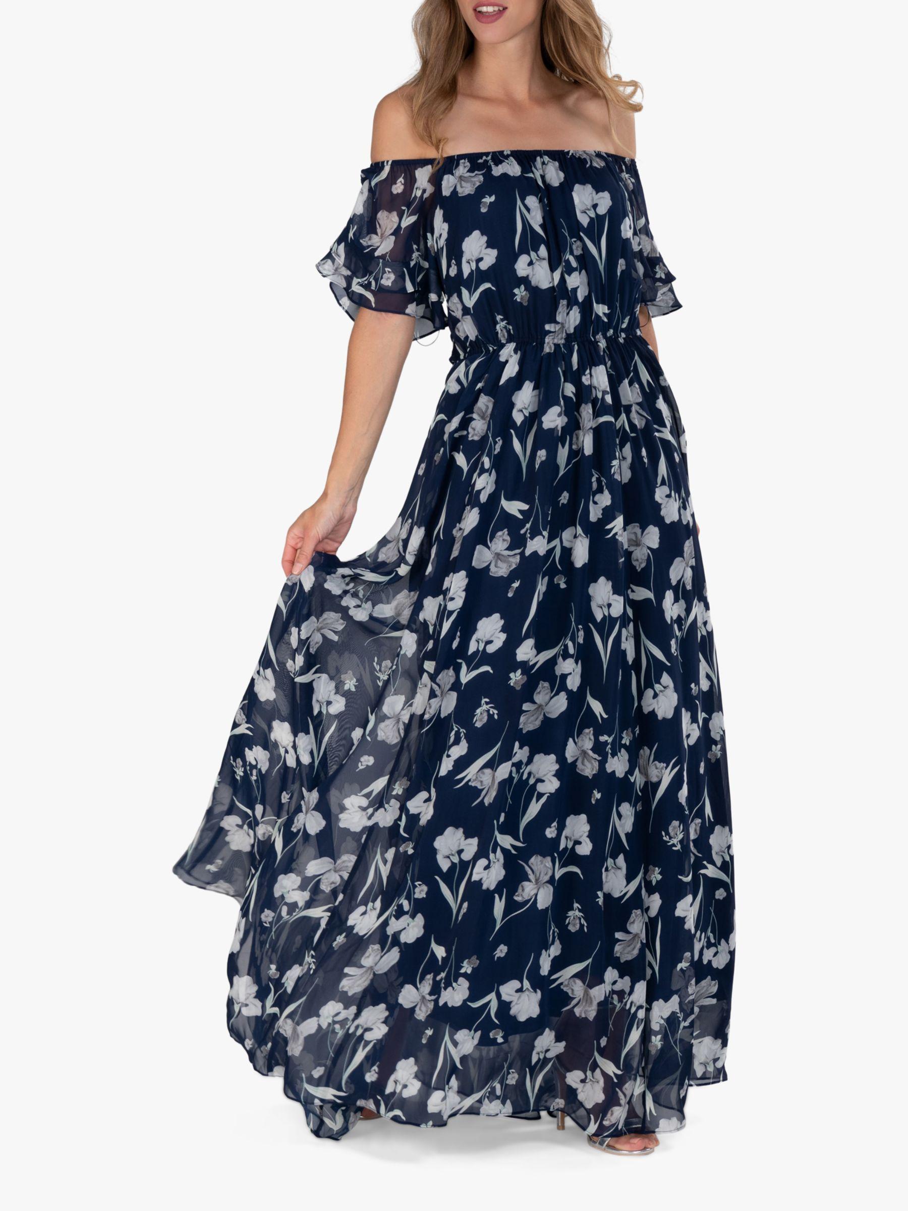 Jolie Moi Off Shoulder Floral Maxi Dress Navy Floral Maxi Dress Beautiful Maxi Dresses Maxi Dress [ 2400 x 1800 Pixel ]