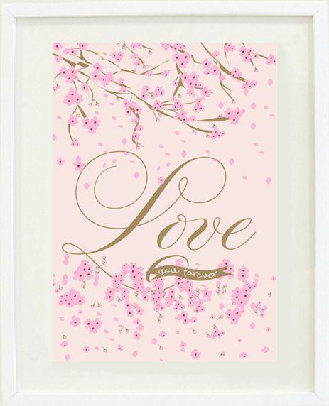 """""""Love you forever """"nursery/girl's bedroom print"""
