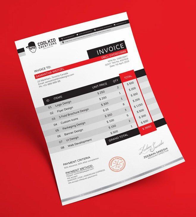 Free Invoice Template AI and EPS Print Templates Invoice design