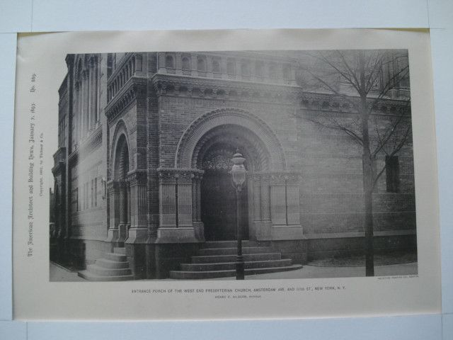 Entrance Porch of the West End Presbyterian Church, Amsterdam Ave. and 105th St., New York, NY, 1893, Henry F. Kilburn