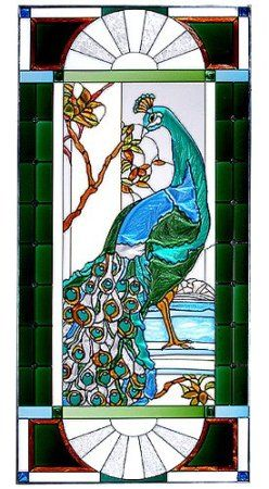 ROYAL PEACOCK Victorian WINDOW Panel 42 x 20 FACING LEFT Tempered Glass Suncatcher: Arts, Crafts & Sewing