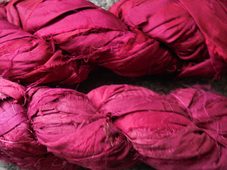 Burgundy, 100 Grams, App  50 Yards, Burgundy Sari Silk