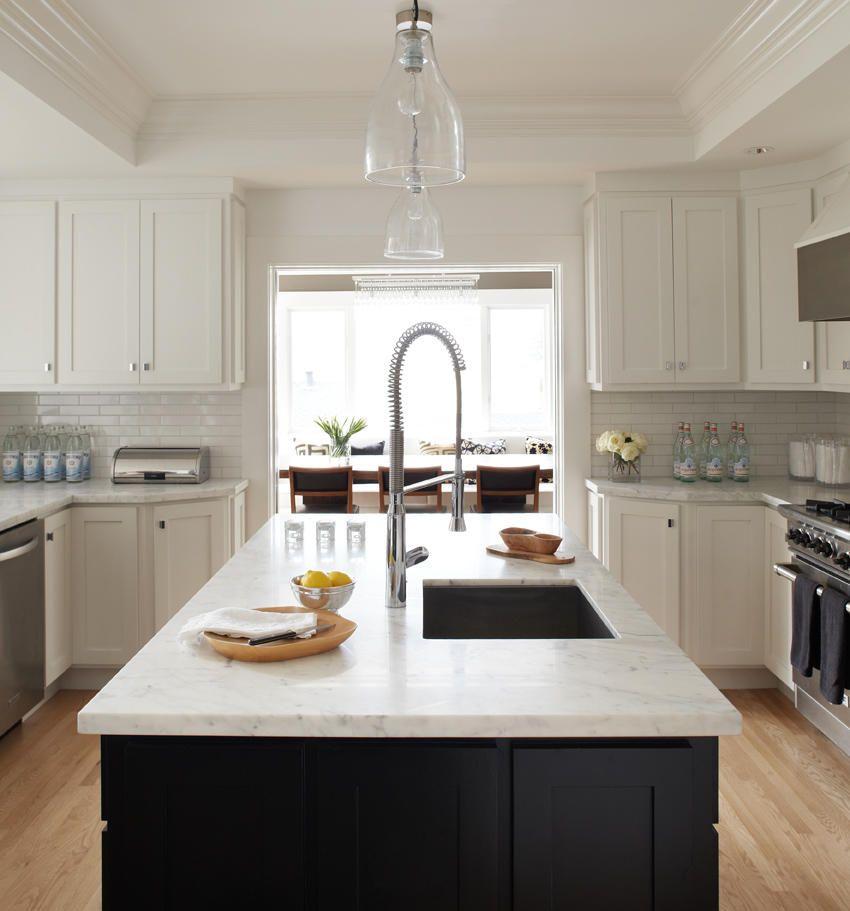 Transitional U Shaped White Kitchen, White Cabinets, Urrutia Design, San  Francisco Bay Area