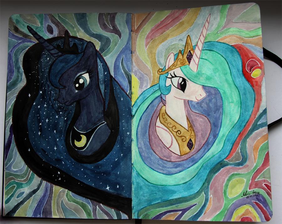 Картинки селестии и луны для срисовки