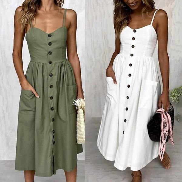 Sexy Women Sleeveless Solid Color Long Casual Dress -   18 casual dress Patterns ideas