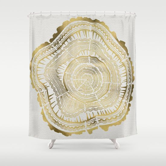 Gold+Tree+Rings+Shower+Curtain+by+Cat+Coquillette+-+$68.00