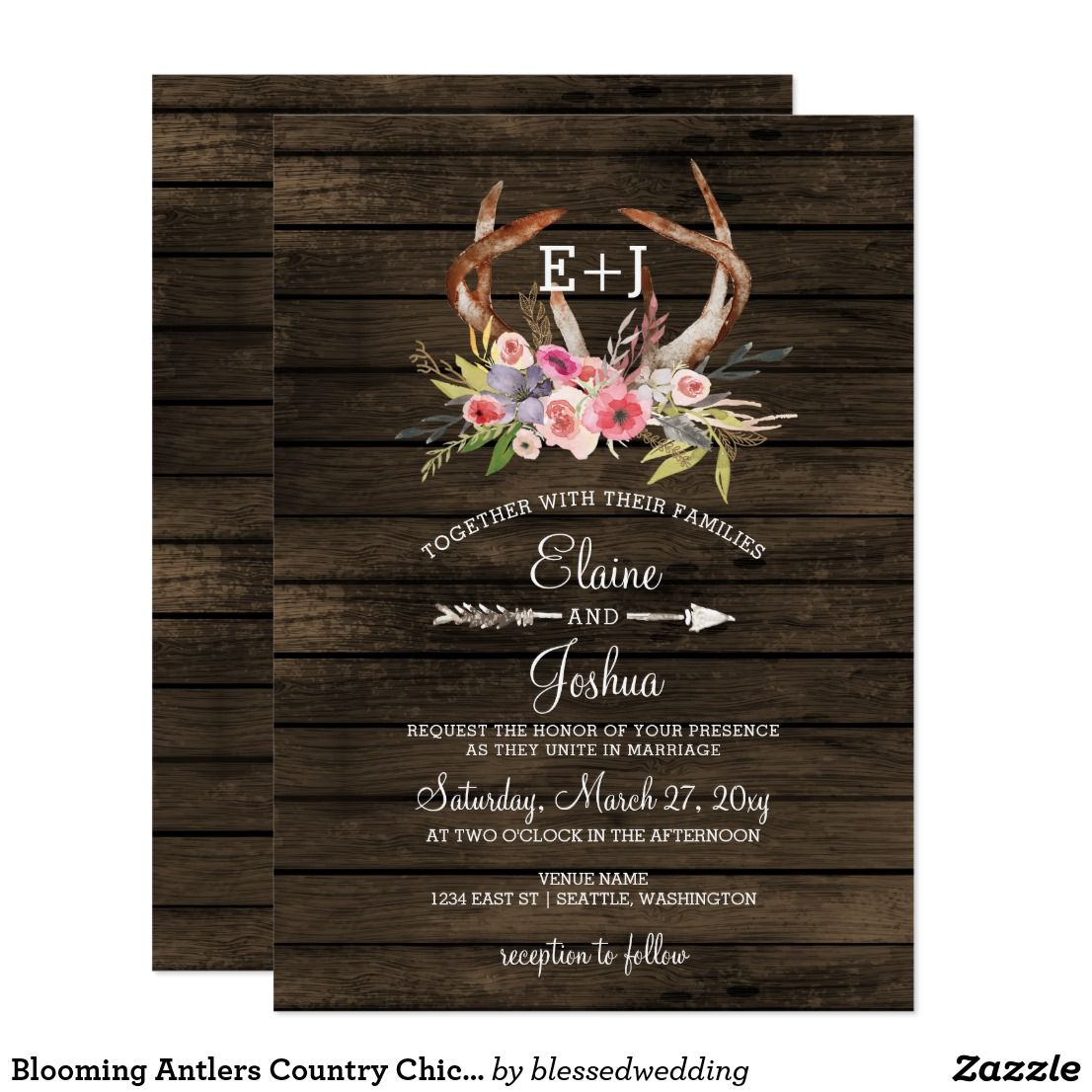 Blooming Antlers Country Chic Wedding Invitations Chic Wedding And