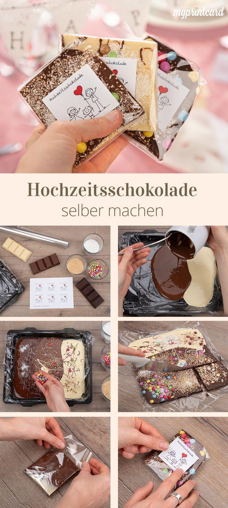 Hochzeits-Schokolade als süßes Gastgeschenk zum Selbermachen #dekoration
