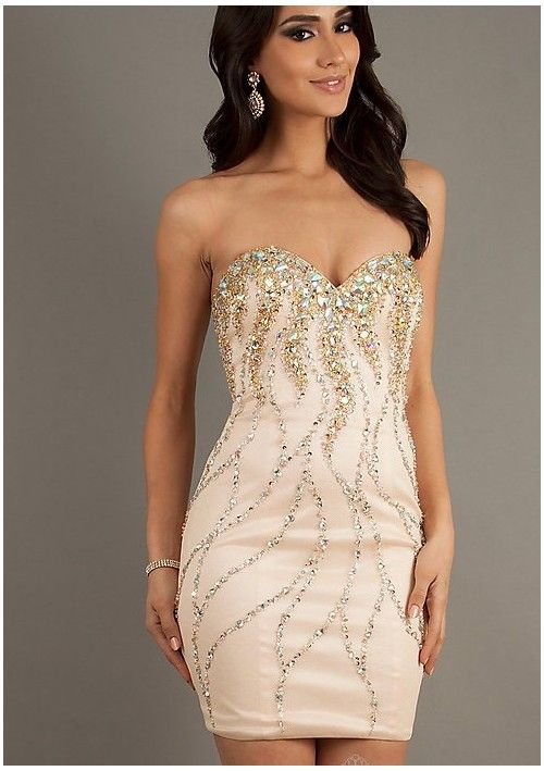 f2818f344c6 Strapless Beaded Short Prom Dress With Slim Fitting Skirt