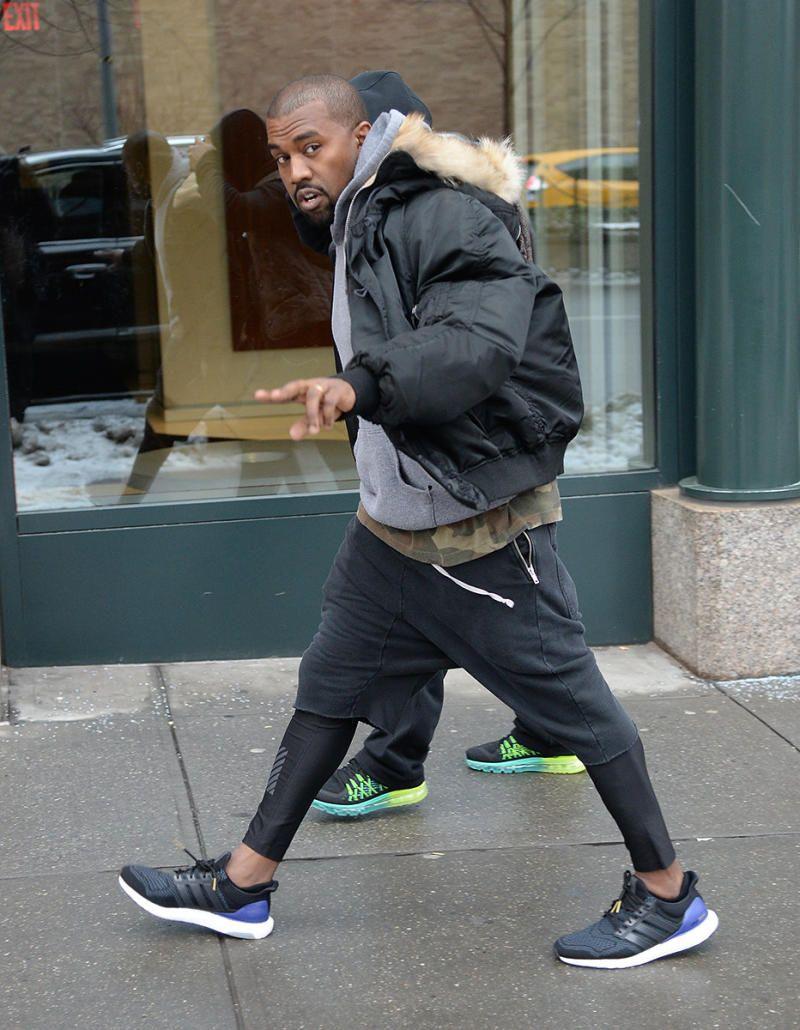 Kanye wearing adidas ultra boost