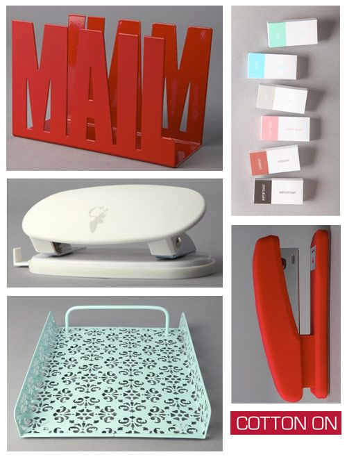 Cotton On Red And Turquoise Office Supplies