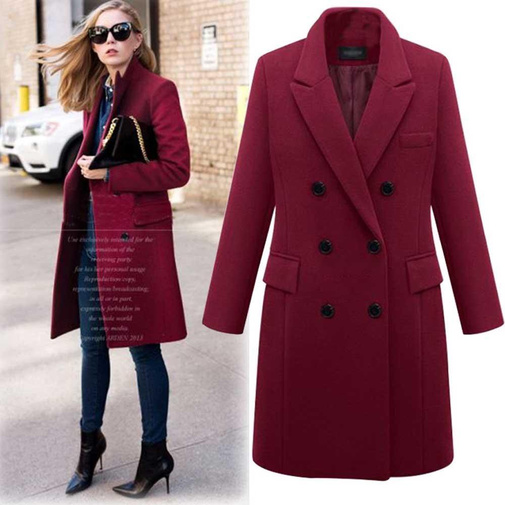 Plus Size 5XL Oversized Overcoat Women Winter Warm Thicken Double Breasted Windproof Jacket Slim Fit Long Woolen Coats WDC1686 – Gray XXL