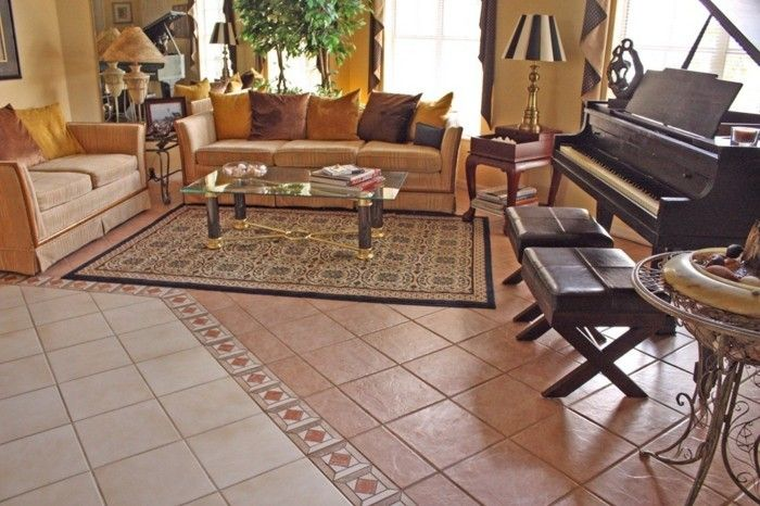 Fliesen im Wohnzimmer – elegante Bodenbeläge ...