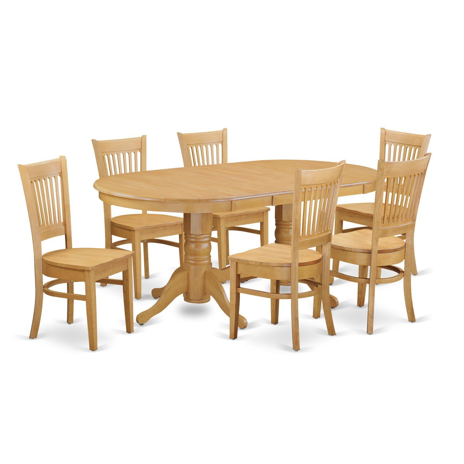 Oak finish rubberwood dining table with leaf and 6 chairs wood seat beige size 7 piece sets