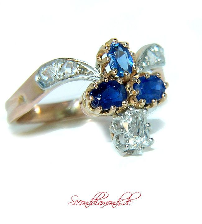 Night & Day Vintage Diamantring Platin & 750 Gold 18 kt Diamanten Safire