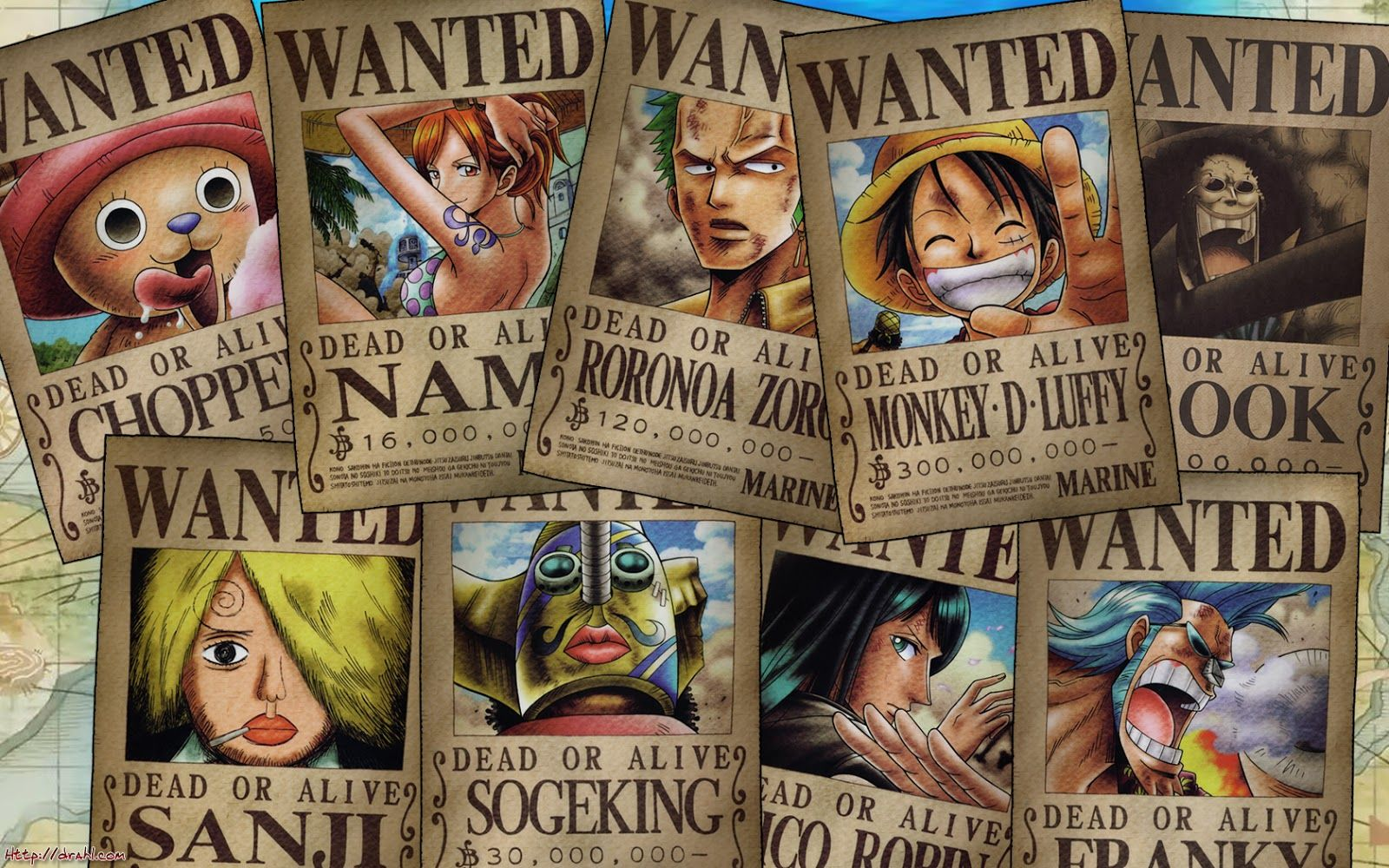 one piece straw hat pirates wanted posters anime manga. Black Bedroom Furniture Sets. Home Design Ideas