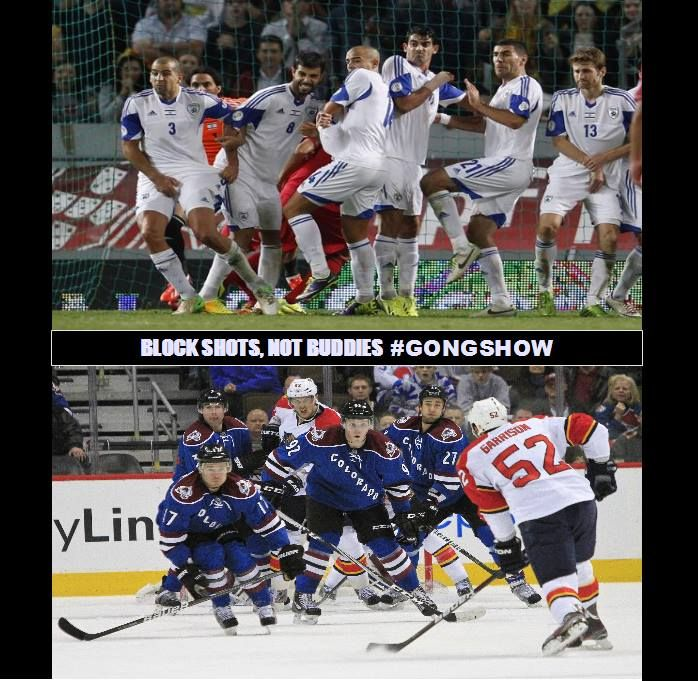 The Difference Between Blocking A Shot In Soccer And Blocking A Shot In Hockey Gongshow Hockey Sports Soccer