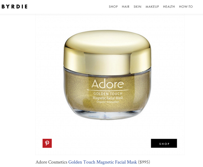 Byrdie Features Adore Cosmetics Golden Touch Magnetic Facial Mask Facial Masks Cosmetics Byrdie