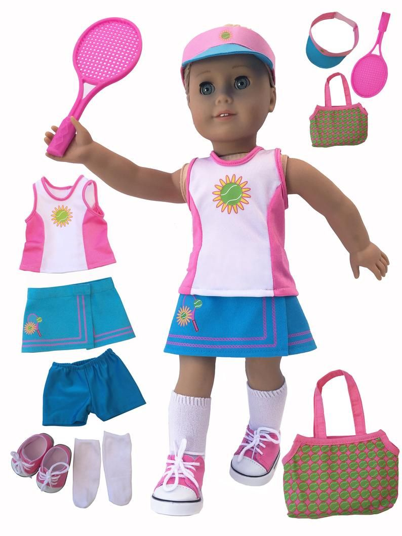 "MangoPeaches 18"" DOLL TENNIS OUtFIT FITS AMERICAN GIRL DOLL 8 PC DELUXE Set"