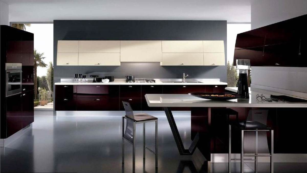 Kitchenmodern Kitchen With Maroon Kitchen Cabinets Completed With Interesting Modern Kitchen Design Ideas 2014 Design Inspiration