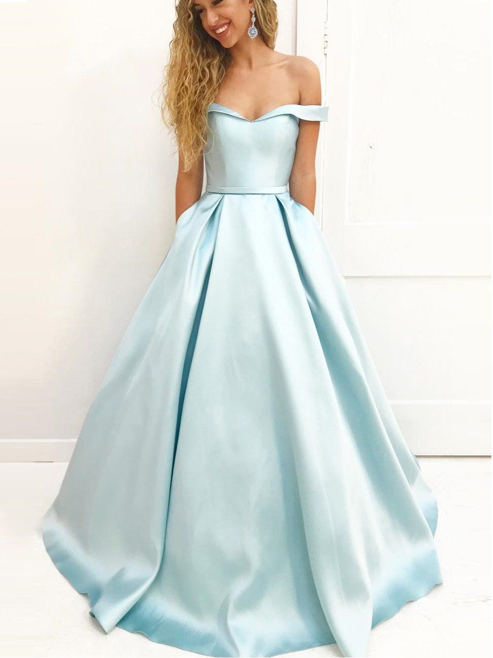 Aline offtheshoulder sweep train light sky blue prom dress with