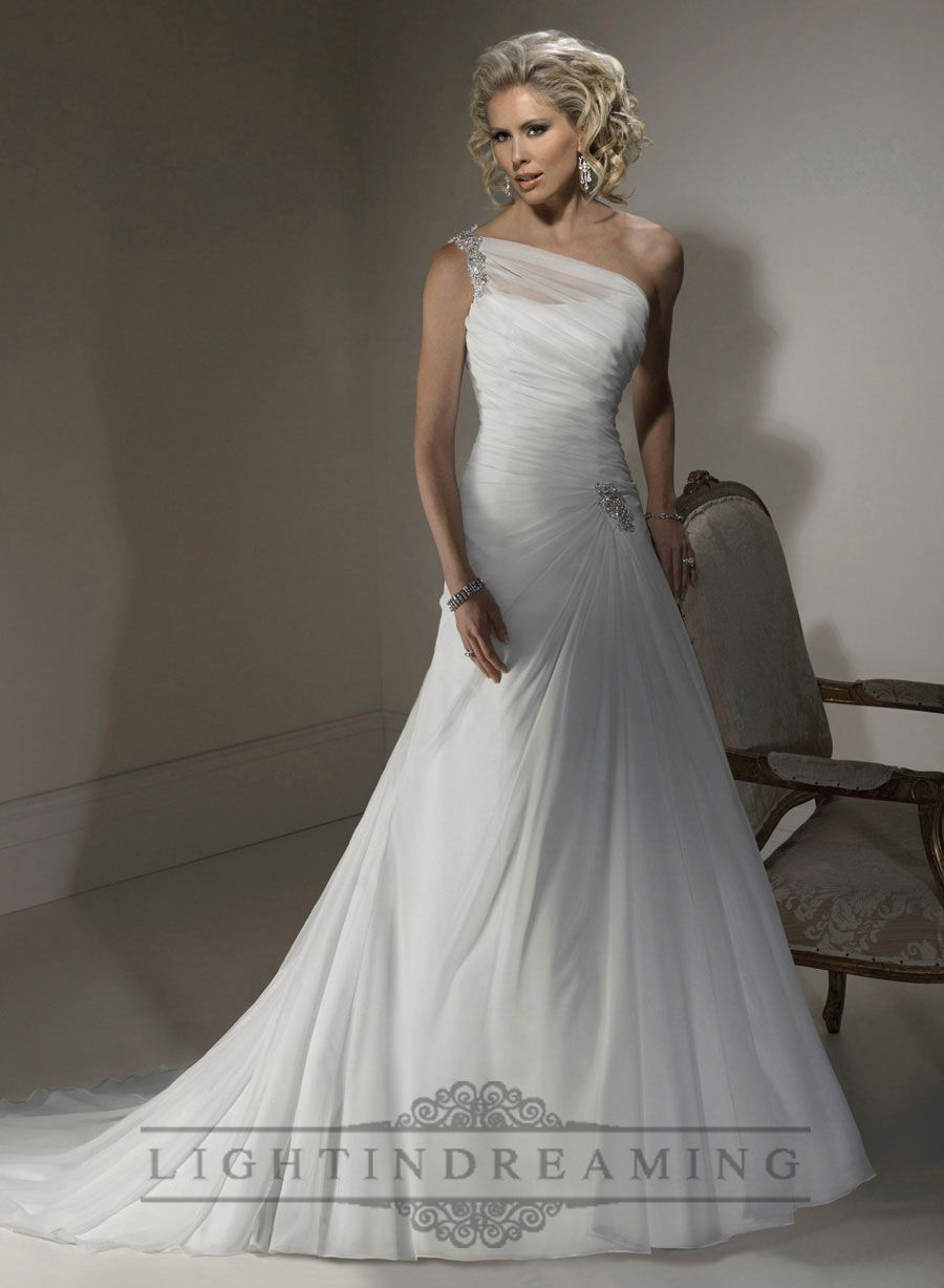 A Line Wedding Dress With One Shoulder Neckline And Corset Closure