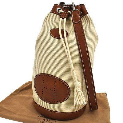 Auth-HERMES-Ranch-One-Shoulder-Bag-Beige-Clinoline-Leather-France-Vintage-F00576