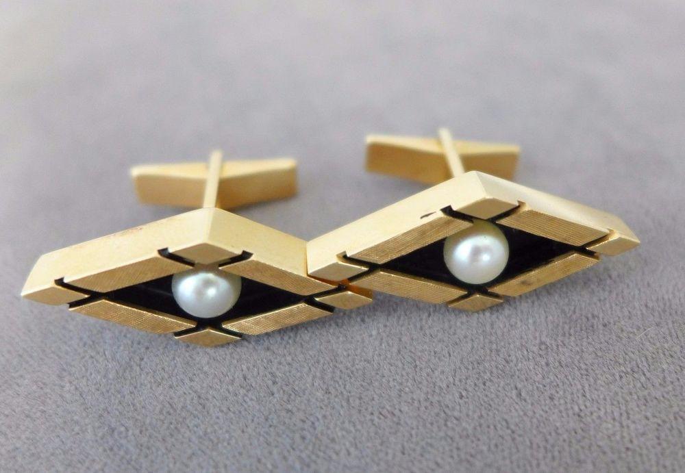 14 K Yellow Gold Cufflinks Art Deco Cultured Pearl Lucien Piccard Box Estate | eBay