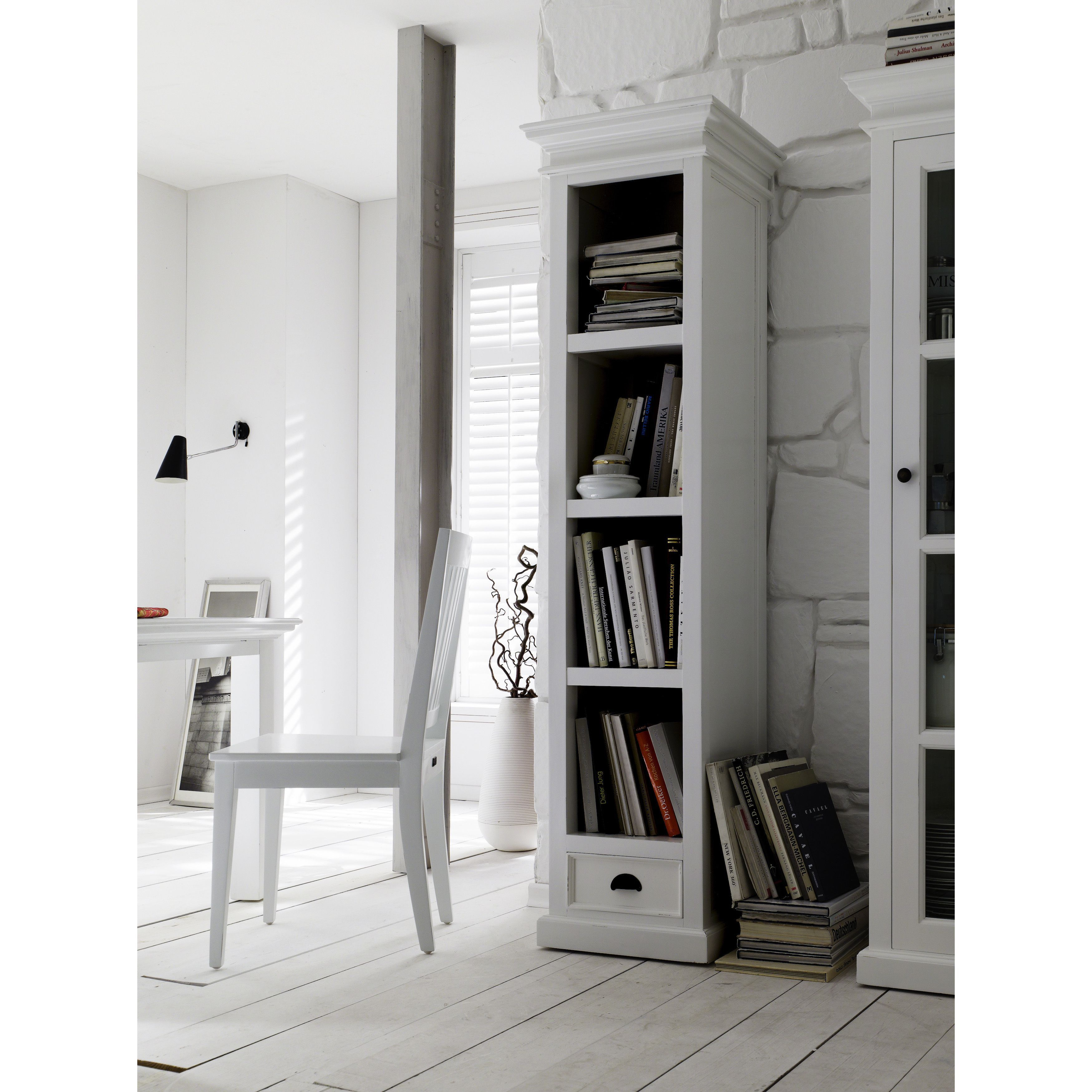 Display Not Just Books But Collectibles As Well This Classic Bookshelf Features Detailed Wooden BookcasesClassic BookshelvesBookcase With DrawersWhite