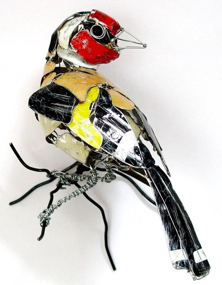 """""""Goldfinch"""" Made from Recycled Metal Scraps by Barbara Franc"""