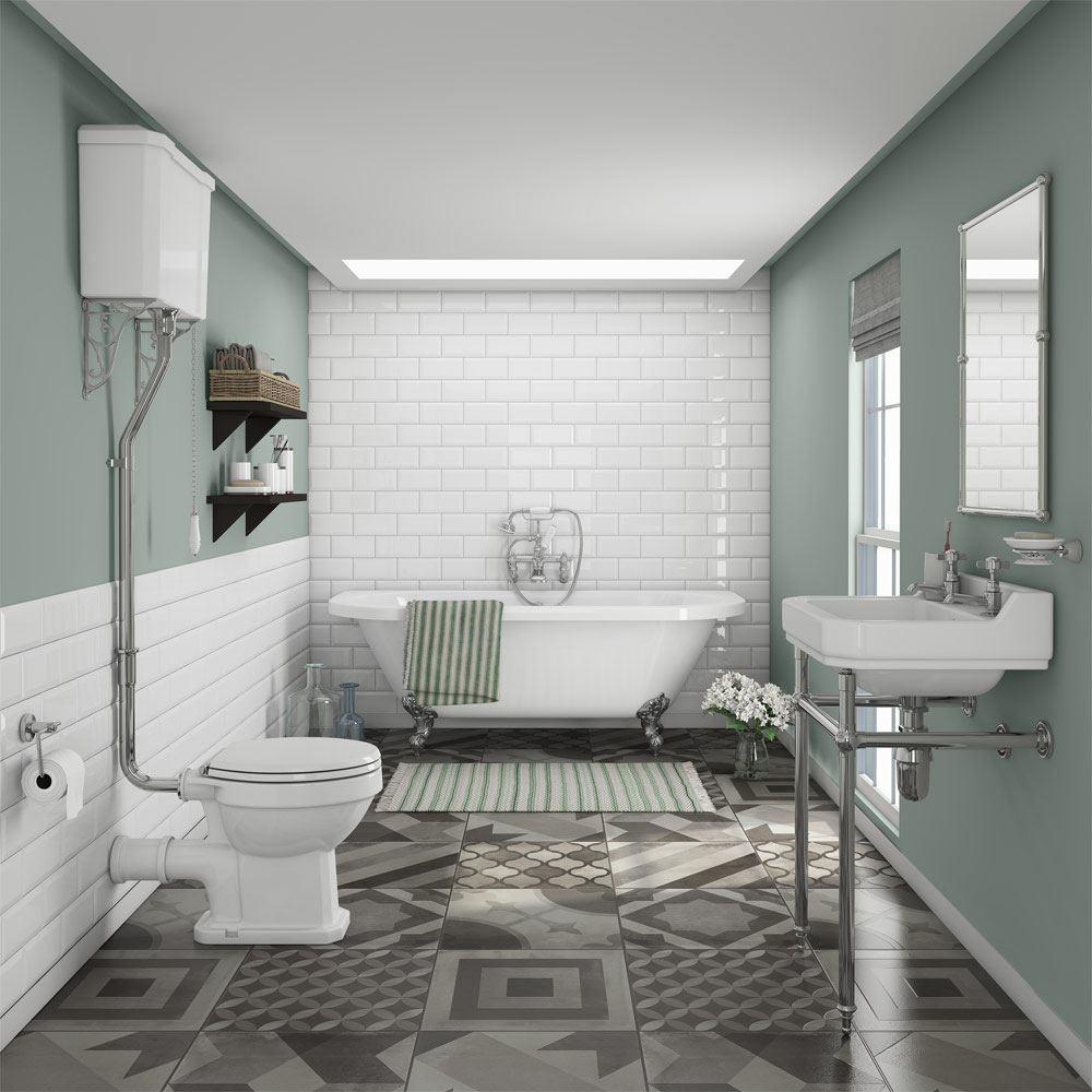 Newbury Traditional Back To Wall Roll Top Bath Suite At Victorian Plumbing Uk In 2020 Traditional Bathroom Traditional Bathroom Designs Bathroom Design