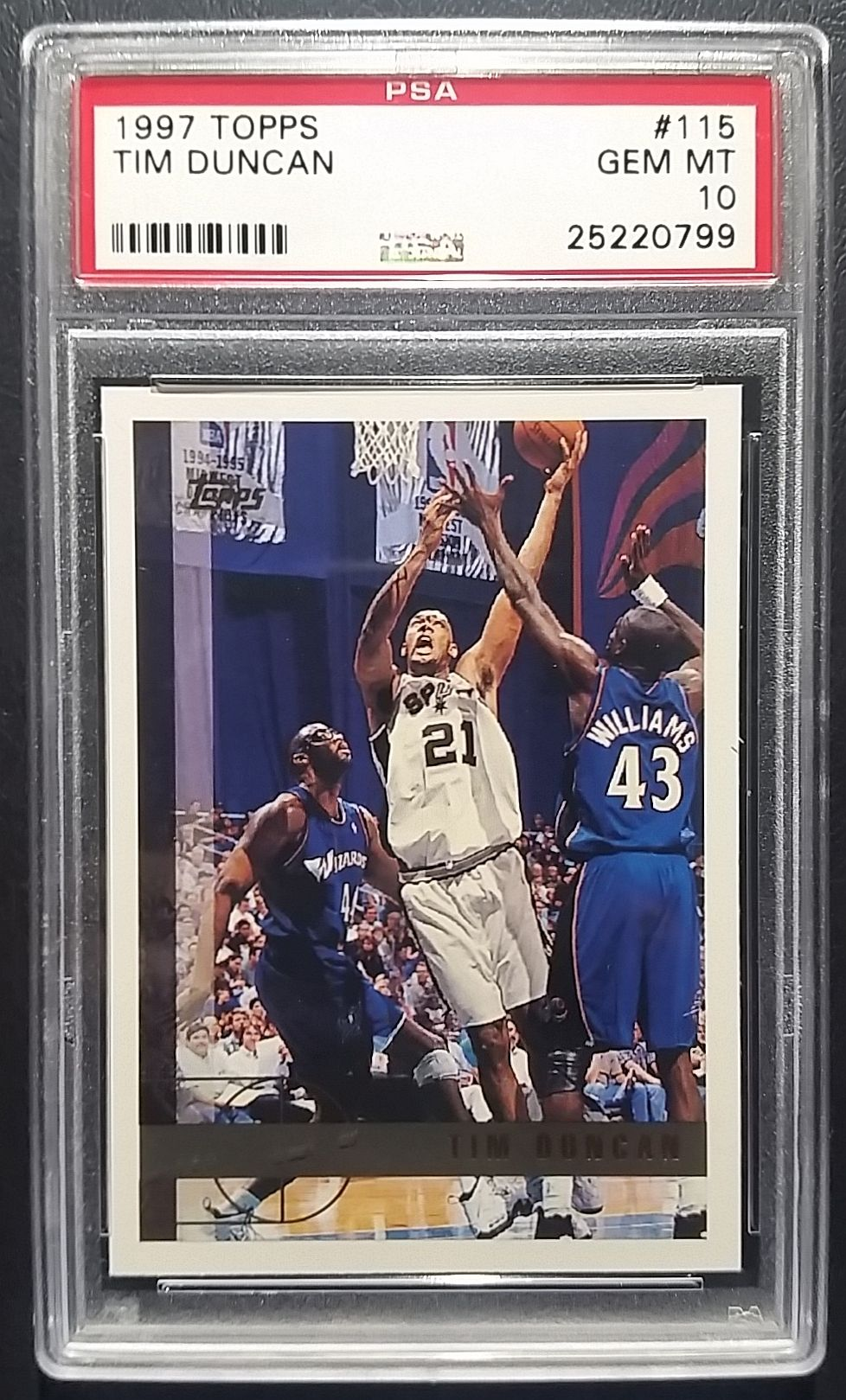 1997 Topps Basketball Tim Duncan Rookie Card Graded 10 Gem