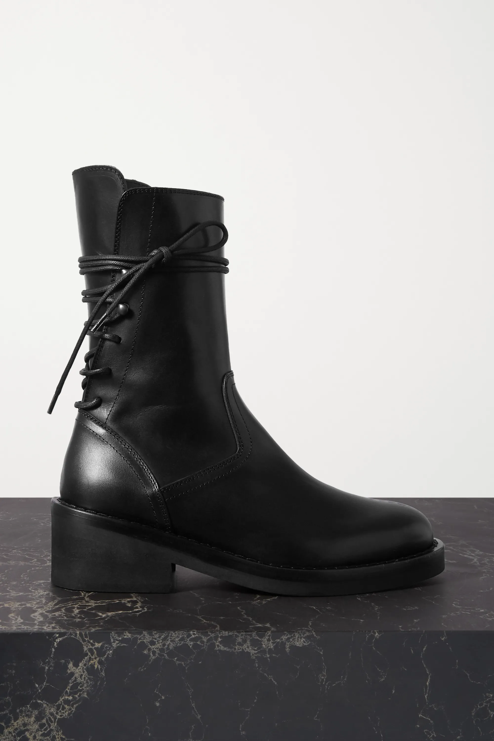 Black Lace Up Leather Ankle Boots Ann Demeulemeester In 2020 Leather Ankle Boots Boots Shoes Boots Ankle