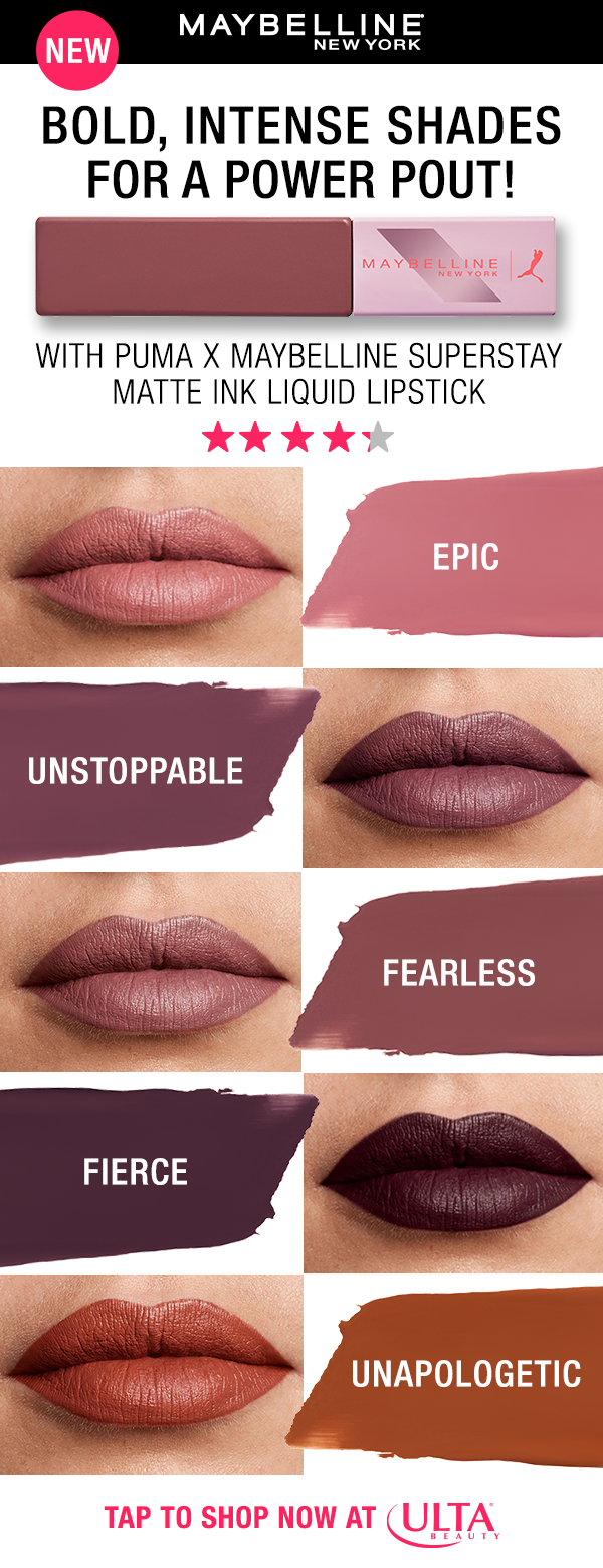 4df705690e8 Shop the NEW PUMA X Maybelline SuperStay Matte Ink Liquid Lipsticks! Drench  your lips in