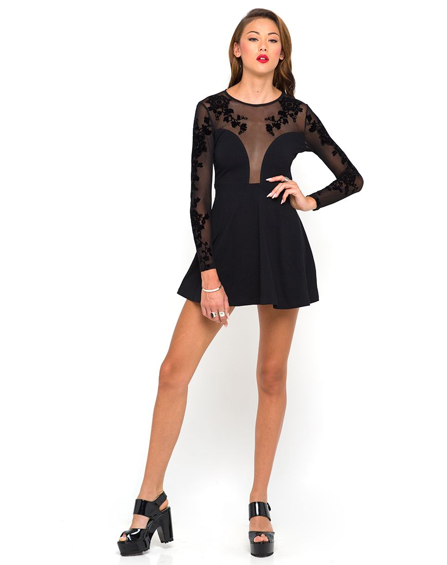 1c94b889d Buy Motel Moonchild Skater Dress in Black Flower at Motel Rocks ...