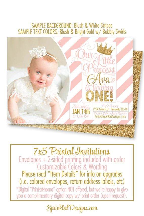 Princess Birthday Invitations Blush Pink Gold Glitter 1st Photo Card First Girl BIG ONE Invitation