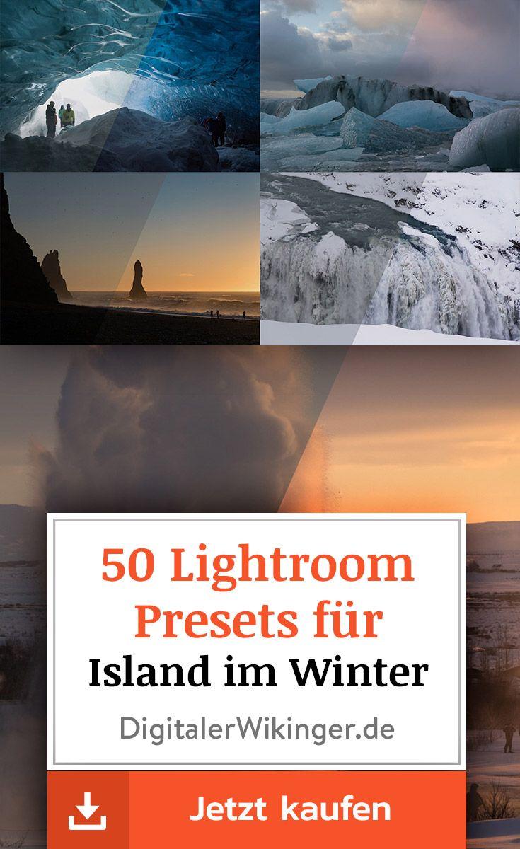 50 Lightroom Presets für insgesamt 26 beliebte Island-Locations zur Winterzeit. Von der Gletscherlagune Jökulsárlón über die Wasserfälle Gullfoss und Skógafoss bis hin zum malerischen Strand Reynisfjara bei Vik.