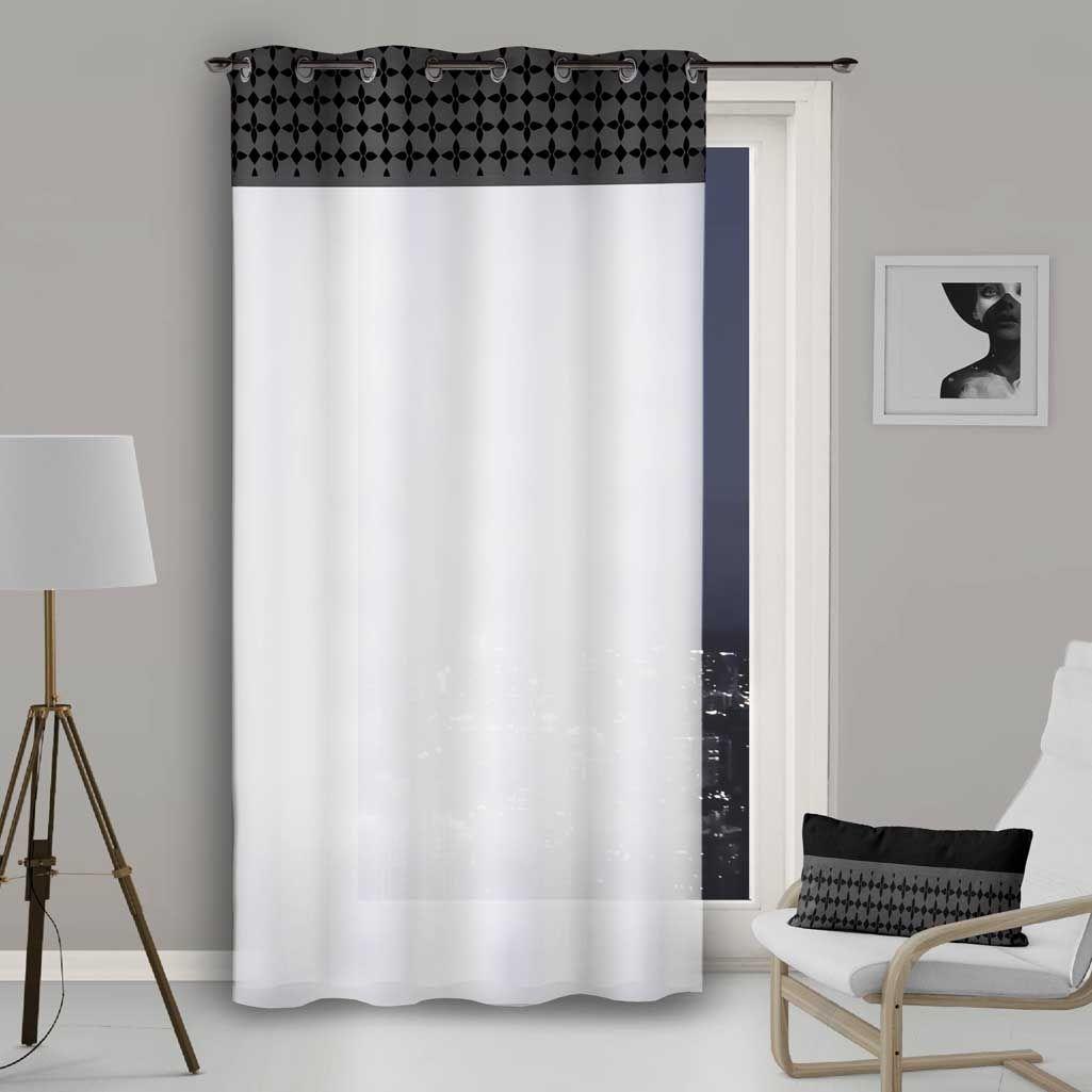 rideau voilage blanc avec bande damier
