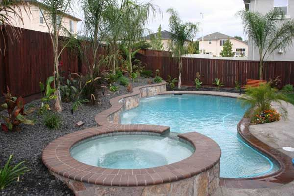 Pool With Jacuzzi Inground Pools With Waterfalls And Hot Tubs
