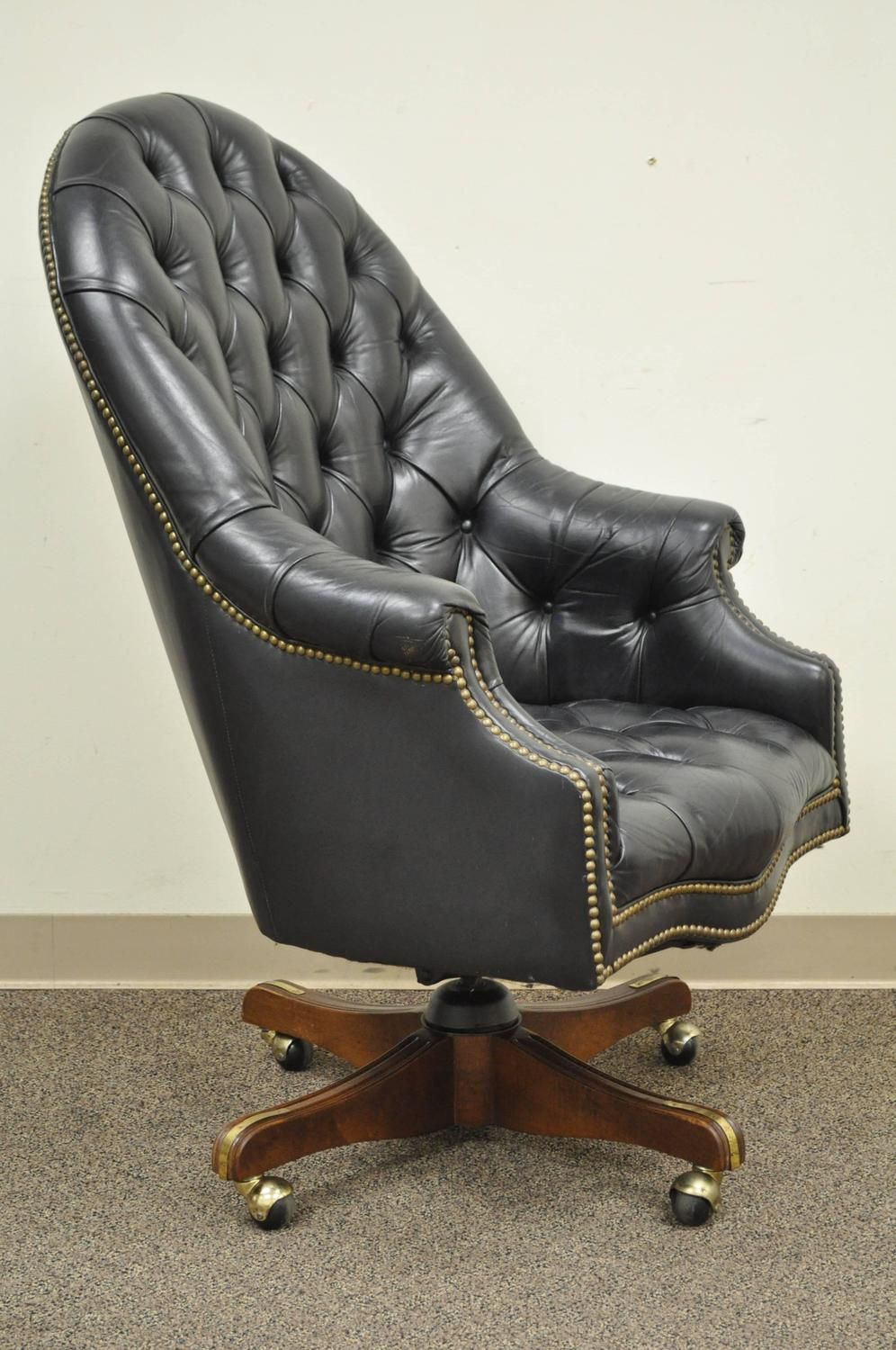 Deep Tufted Black Leather English Chesterfield Style Rolling