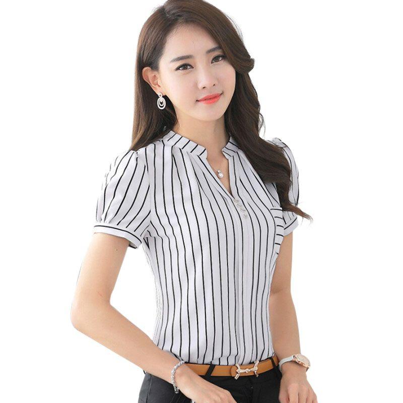 a1db2d0eb6 Cheap 2016 moda de verano de la raya camisa para mujer v cuello corto gasa blusa  para mujer oficina de negocios formal más tamaño ropa de trabajo tops