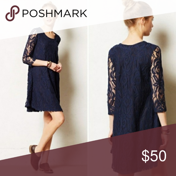 Anthropologie Puella Amare Navy Lace Dress Classic and chic