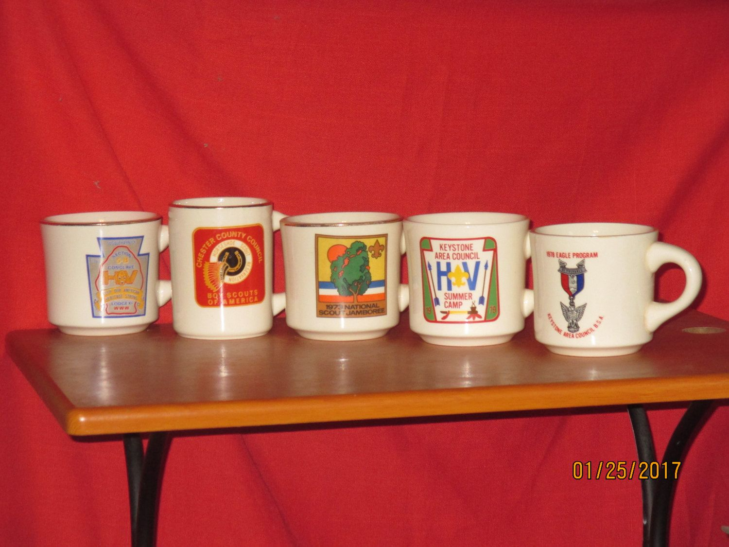 boy scout coffee mug collection (5) total, vintage by