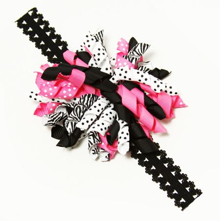 Pink Baby Boutique - Baby Girl Black and Pink Korker Bow Lace Headband, $12.99 (http://www.pinkbabyboutique.com/baby-girl-black-and-pink-korker-bow-lace-headband/)